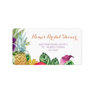 Aloha Bridal Shower Address Labels Luau Stickers