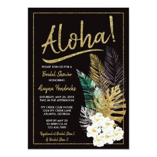 Aloha Bridal Shower Invitation, Faux Gold Card