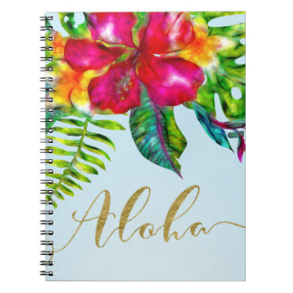 Aloha Bright Electric Pop Tropical Floral Notebook