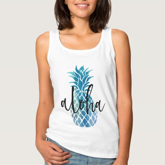 aloha calligraphy on blue pineapple tank top