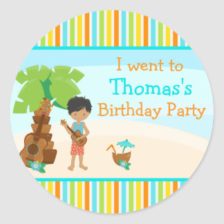 Aloha Cute African American Boy Party Classic Round Sticker