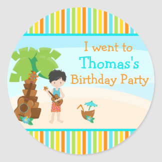 Aloha Cute Black Hair Boy Party Classic Round Sticker