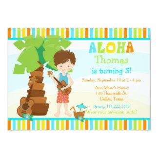 Aloha Cute Brunette Hair Boy Birthday Party Card