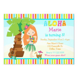 Aloha Cute Red Hair Girl Birthday Party Card