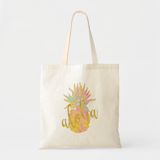 Aloha fancy faux gold glitter pastel pineapple tote