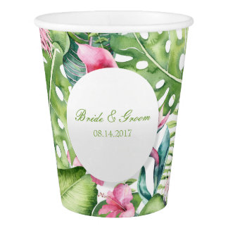 Aloha Flamingo Tropical Beach Wedding Paper Cup