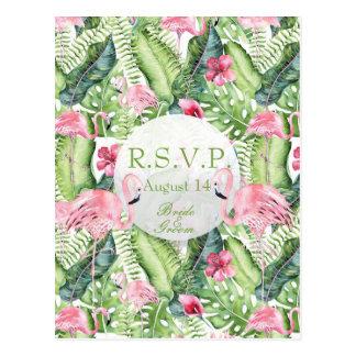 Aloha Flamingo Tropical Beach Wedding  RSVP Postcard