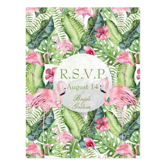Aloha Flamingo Tropical Beach Wedding RSVP Postcard