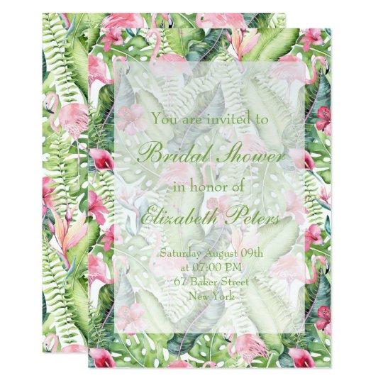 Aloha Flamingo Tropical Wedding Bridal Shower Card