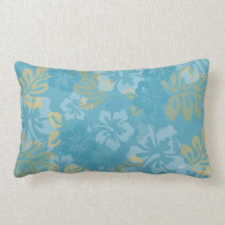 Aloha Floral in Blues and Yellows Lumbar Cushion