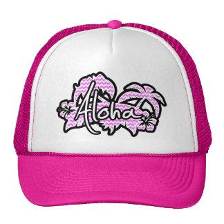 Aloha; Fuchsia Pink Chevron Stripes Trucker Hat