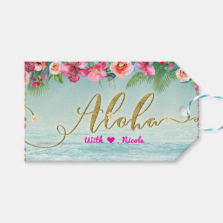 ALOHA Gold Tropical Beach Hibiscus Floral Favor