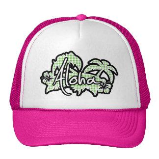 Aloha; Green Checkered; Gingham Trucker Hat