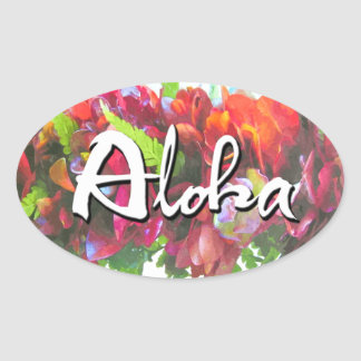 Aloha Haku Lei Oval Sticker