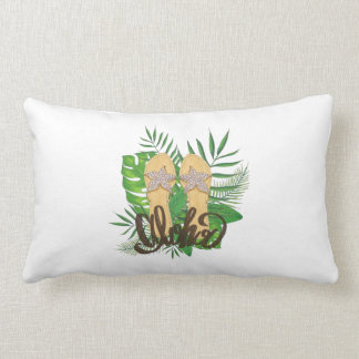 Aloha Hand Painting Palm Leaves Hand Drawn Lumbar Cushion