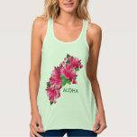 Aloha Happiness Pink Hibiscus Flower Flowy Racerback Tank Top