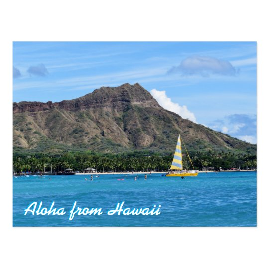 Aloha Hawaii Duamond Head Waikiki Beach Ocean Postcard