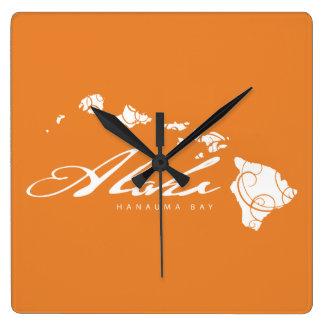 Aloha Hawaii Islands Square Wall Clock