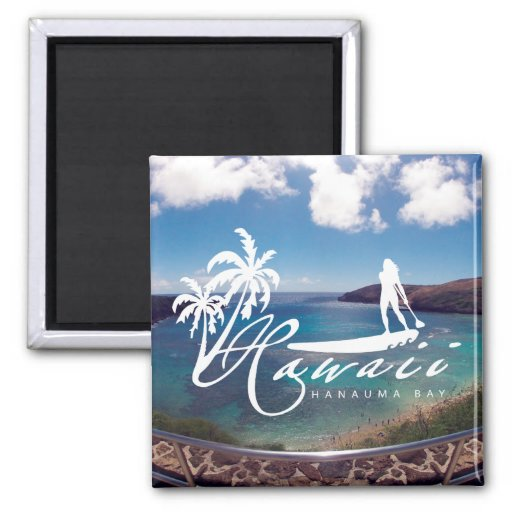 Aloha Hawaii Islands - Stand Up Paddling Refrigerator Magnet