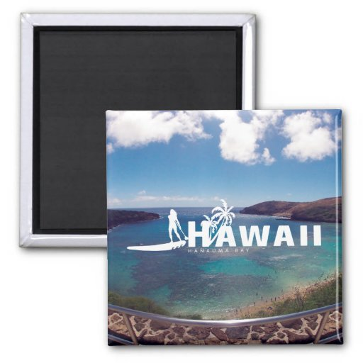 Aloha Hawaii Islands - Stand Up Paddling Refrigerator Magnets