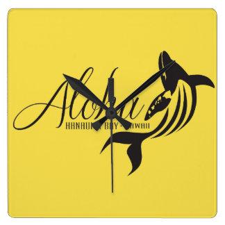 Aloha  Hawaii Whale Square Wall Clock