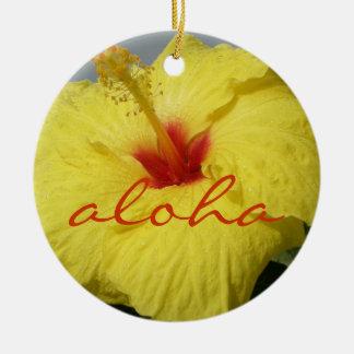 Aloha, Hawaii Yellow Hibiscus Christmas Ornament