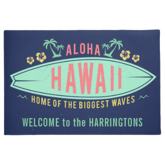 Aloha Hawaiian Surfer custom name door mat