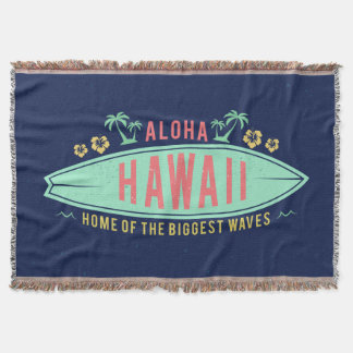 Aloha Hawaiian Surfer throw blanket