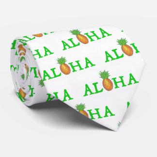 ALOHA Hawaiian Tropical Island Pineapple Print Tie