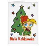 Aloha Honeys Christmas Blonde Hula Girl Greeting Card