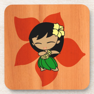 Aloha Honeys Hawaiian Hibiscus Vintage Hula Girl Coaster