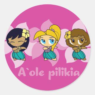 """Aloha Honeys "" hula girls stickers in fuchsia"