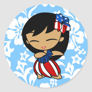Aloha Honeys Patriotic Hula Girl Stickers