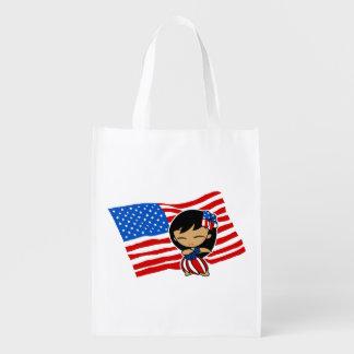 Aloha Honeys USA Flag Hula Girl Grocery Bag