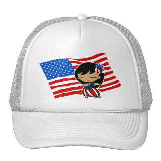 Aloha Honeys USA Flag Hula Girl Hats