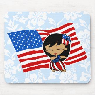 Aloha Honeys USA Flag Hula Girl Mousepads
