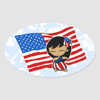Aloha Honeys USA Flag Hula Girl Stickers