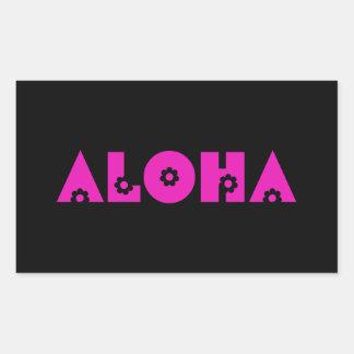 Aloha in Pink Flowers Rectangular Sticker
