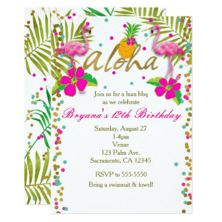 Aloha Luau Girls Tropical Flamingo Birthday Party Card