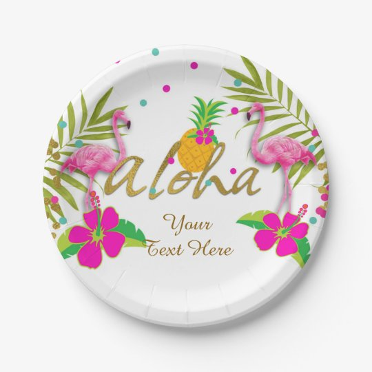 Aloha Luau Girls Tropical Flamingo Birthday Party Paper