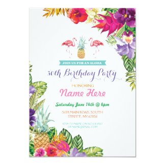 Aloha Luau Tropical Birthday Flamingo Party Invite