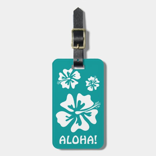 Aloha luggage tag with Hawaiian Hibiscus flowers