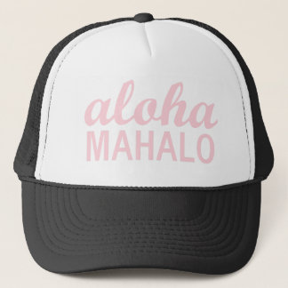 Aloha Mahalo Typography in Light Pink Trucker Hat