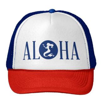 Aloha Mermaid Trucker Hat Blue and Red