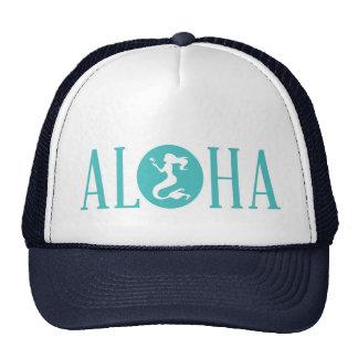Aloha Mermaid Trucker Hat Navy Blue and Aqua