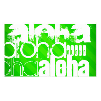 Aloha; Neon Green Stripes Pack Of Standard Business Cards
