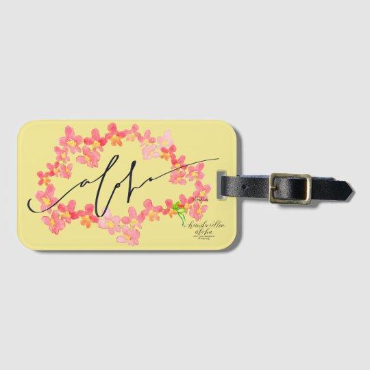 Aloha Orchid Lei Luggage Tags / Bag Tags - Yellow