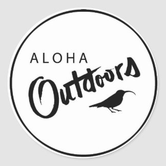 aloha outdoors round sticker