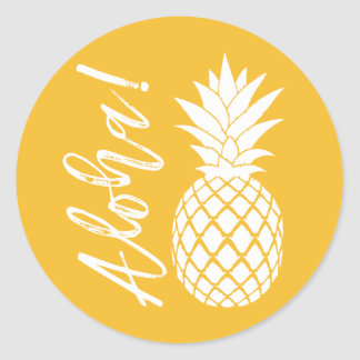 Aloha Pineapple Beach Wedding Luau | yellow white Round Sticker