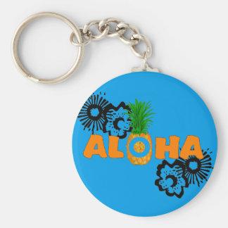 Aloha Pineapple - Hawaiian Themed Party Favors Basic Round Button Key Ring